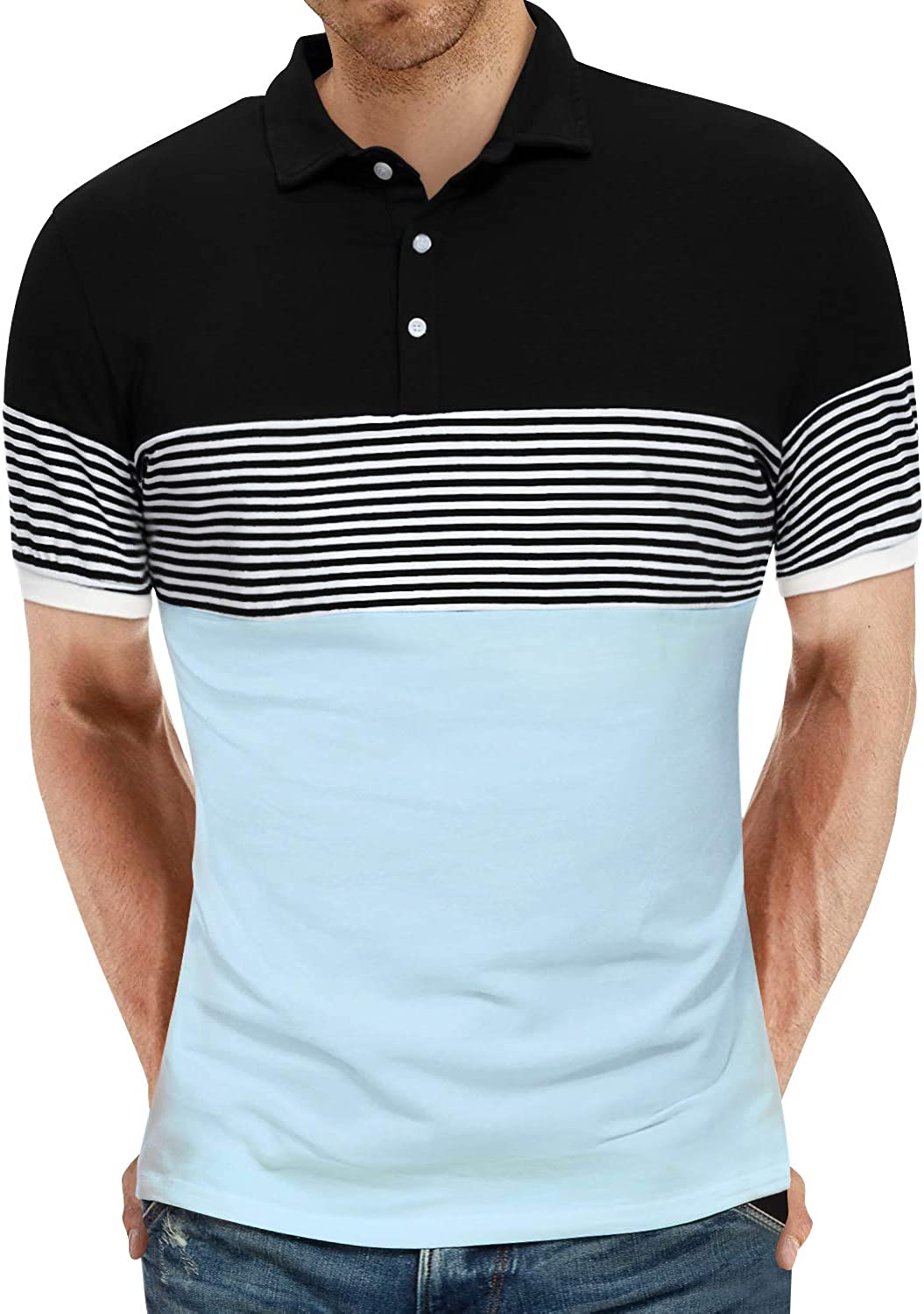 YTD Men's Short Sleeve Polo Shirts Casual Slim Fit Contrast Color Stitching Stripe Cotton Shirts