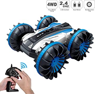 Tuptoel Rc Stunt Car Water Land 2 in 1 Car Boat Waterproof Remote Control RC Vehicles 2.4Ghz 4WD Double Sided Off Road Hobby RC Car 360° Spins & Flips RC Truck