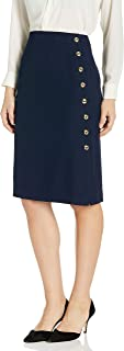 Women's Pencil Skirt with Side Seam Button Detail