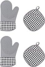 Lurrose Conjuntos 1 Pegadores De Panela de Silicone Luvas de Forno de Microondas Luvas de Forno E Algodão Luvas Resistente...