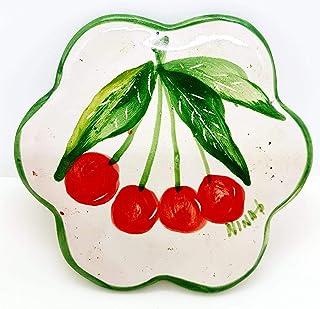 Sottocaffettiera Sottopentola Linea Ciliegie Realizzato e dipinto a mano Le Ceramiche del Castello Made in Italy Pezzo Uni...