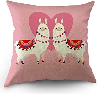 Moslion Llama Decorative Throw Pillow Cover Cute Animal Valentine's Day Llamas in Love Heart Ethnic Dress Pillow Case Cotton Linen for Home Sofa Square Cushion 18x18 Inch Pink
