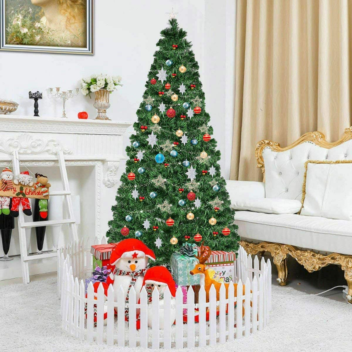 COSTWAY Ranking Phoenix Mall TOP1 7FT Artificial Christmas Pre-Lit Fiber Optical 8 Tree Fl