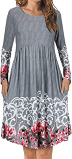 Womens Long Sleeve Floral Printed Pleated Swing Midi Dress Short Sleeve with Pockets