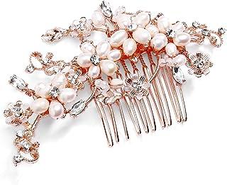 Mariell 浪漫淡水珍珠和水晶新娘发梳 - 玫瑰金色设计师婚礼头饰