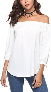 bc5e63247b2 Abollria Camiseta Casual para Mujer con Hombros Descubiertos Camisa con  Escote Bardot T-Shirt Larga