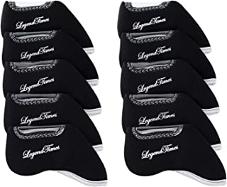 LEGENDTIMES Golf Club Headcovers, 10 Pcs Gold Club Neoprene Iron Head Covers for Scotty Cameron, Titleist, Callaway, Ping, Taylormade, Mizuno (10 pcs)