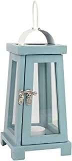 Stonebriar Coastal Worn Blue Wooden Candle Lantern, Nautical Home Decor, for Table Top or Wall Hanging Display, Can Be Use...