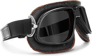Bertoni Vintage Motorcycle Goggles Dark Lenses Black Leather w Orange Stitching by Bertoni Italy AF196A Motorbike Aviator ...