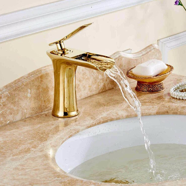 Bijjaladeva Wasserhahn Bad Wasserfall Mischbatterie Waschbecken Waschtisch Armatur Waschbeckenarmatur für BadezimmerDas Kupfer Gold Bad Armatur Waschbecken Gold Wasserfall