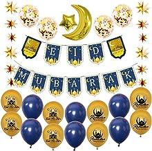 Colcolo Eid Mubarak Banners Lantejoulas Estrelas Da Lua Balões de Látex Balões para Casa Enfeites de Cortina Do Ramadã Isl...