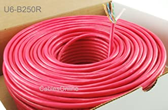 CablesOnline, 250FT Solid CAT6E CMR 550-Mhz, High-Performance 23-AWG Copper Bulk Cable, Red , U6-B250R