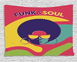 Ambesonne Vintage Decor Tapestry by, Groovy Funk and Soul Event Flyer Print with a Cool Disco Party Music Vinyl Records, Wall Hanging for Bedroom Living Room Dorm, 80WX60L Inches, Multi