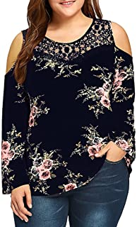 f6284bd796c9c OrchidAmor 2019 Summer Spring Fashion Womens Plus Size Lace Cold Shoulder  Floral Printed Blouse T-