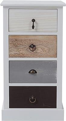 Cassettiera in legno comodino 58 x 25 x 28 cm colore: marrone Com/óda cassettiera con 3 cestini