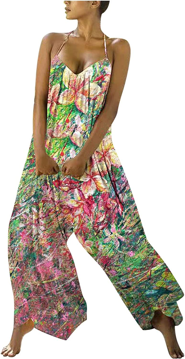 Pyhlmscde Women Baggy Jumpsuits Floral Print One Piece Overall Sleeveless Playsuit Romper Sexy Backless Casual Trousers