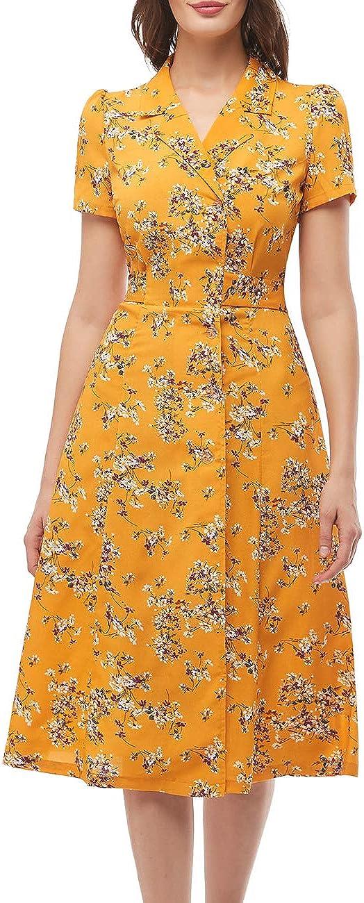 Bridesmay Women's Short Sleeve Floral Wrap Dress Button Up Split V Neck Boho Beach Party Midi Dress