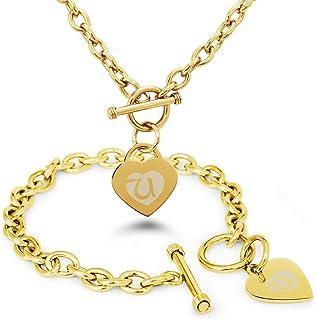 Acero Inoxidable Letra del Alfabeto U Inicial Encanto del Corazón del Grabado Pulsera y Collar