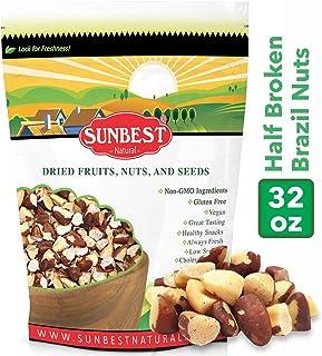SUNBEST NATURAL Brazil Nuts Half Broken , Raw in Resealable Bag -Non Gmo-Vegan &Kosher- 32 Ounce (2 Lb)
