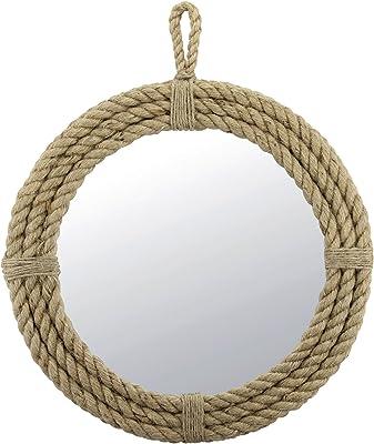 Stonebriar Espejo Ovalado de Cuerda con Colgador Circular, Vintage, Marrón, Redondo, 1