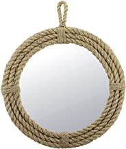 Stonebriar Small Round Wrapped Rope Mirror with Hanging Loop, Vintage Nautical Design, Brown