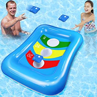 Camlinbo Pool Game Inflatable Floating Swimming Pool Party Bean Bag Toss Game Floating Cornhole Set Board Water Pool Games...