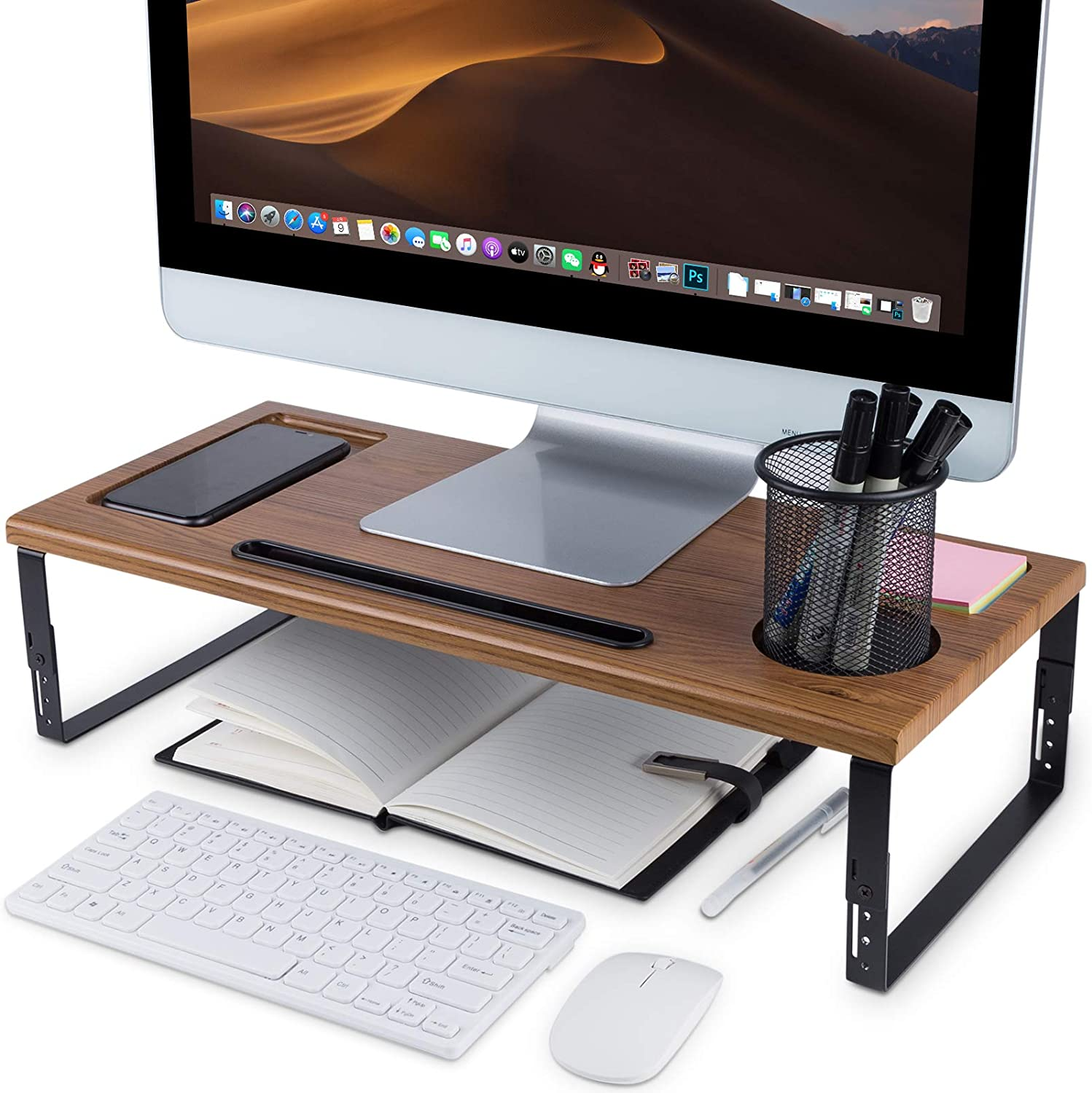 Kavalan Monitor Stand Riser Organizer, Height Adjustable Metal and Wood Desk Organizer with Phone Tablet Holder, Supports Heaviest Monitor, Printer, Laptop, Computer Screen, Wood Color