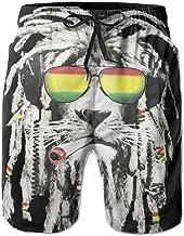 SARA NELL Mens Cool Reggae Rasta Lion Smoking Breathable Beach Board Shorts Swim Trunks Quick Dry