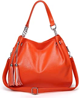 Handbags-large-capacity Multi-pocket Women Bags, Fashion Casual Leather PU Tote Bags, Crossbody Bags/Shoulder Bags,multiple Colour,14cm *29cm * 34cm The most beautiful accessories (Color : Orange)