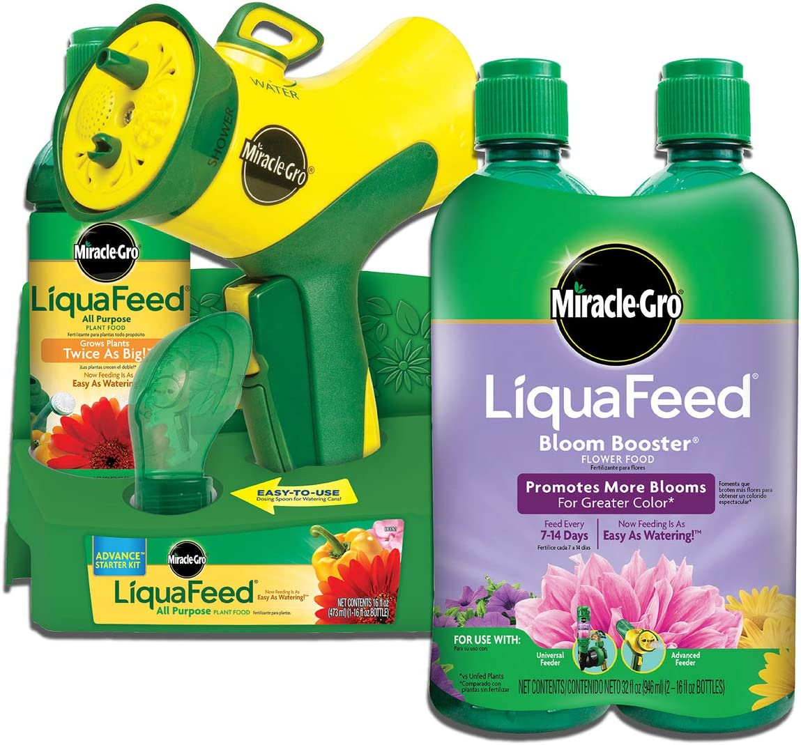 Miracle-Gro LiquaFeed All Purpose Plant Food Advance Starter Kit and Bloom Booster Flower Food Bundle: Feeding as Easy as Watering