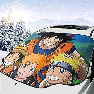 Cars Windshield Sunshade Cover Goku with Luffy, Ichigo and Naruto Auto Shield Sun Shade for Front Windshield UV Sun and Heat Reflector