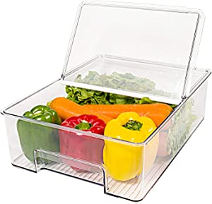 elabo Food Storage Containers Fridge Produce Saver- Stackable Refrigerator Organizer Keeper Drawers Bins Baskets with Lids and Removable Drain Tray for Veggie, Berry and Fruits