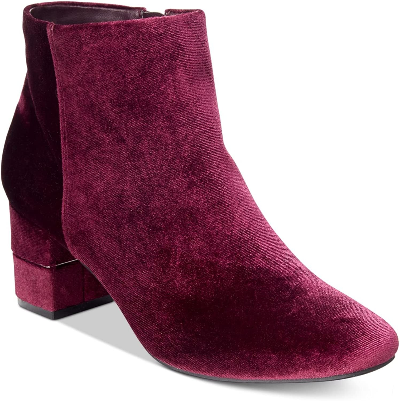 Alfani Womens Nickki Velvet Square Toe Ankle Boots Red 6.5 Medium (B,M)