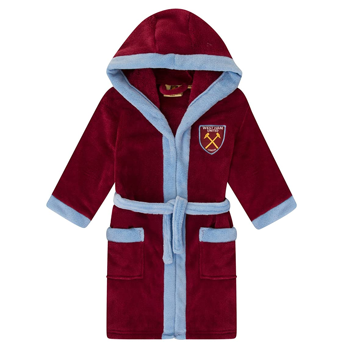 West Ham United FC Official Soccer Gift Boys Hooded Fleece Dressing Gown Robe