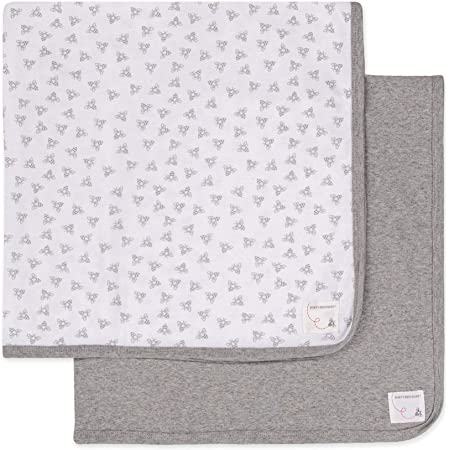 Burt's Bees Baby - Blankets, Set of 2, 100% Organic Cotton Swaddle, Stroller, Receiving Blankets (Heather Grey Solid + Honeybee Print)