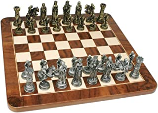 WE Games Medieval Chess Set with Pewter Pieces & Walnut Root Board - 17 in.