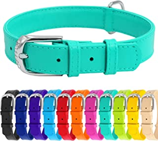WAUDOG Soft Leather Dog Collar - Dog Collars for Small Medium Large Dogs Puppy - Red Blue Pink Purple Green Black - Handmade with Real Genuine Leather - Glamour Plus