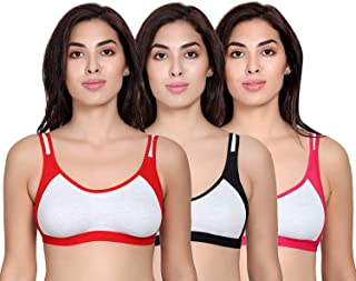 Vibrant Fashion Women's Cotton Non Padded Daily Workout Sports Gym Bra Combo- Pack of 3 Size (30-40 in) (34, Multicolored)