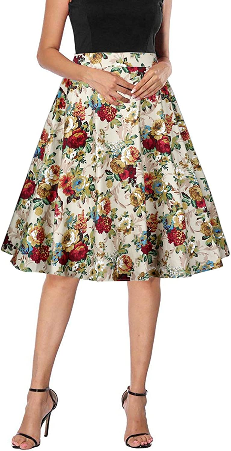 Yanmei Women's 50s Vintage Floral Skirt High Waisted A Line Casual Midi Skirts