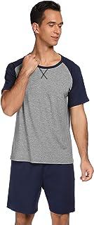 Men's Short Pyjamas Summer Short Sleeve Sleepwear Two Piece Sleepsuit O-Neck Striped Shorty Set Including Trousers Tops fo...