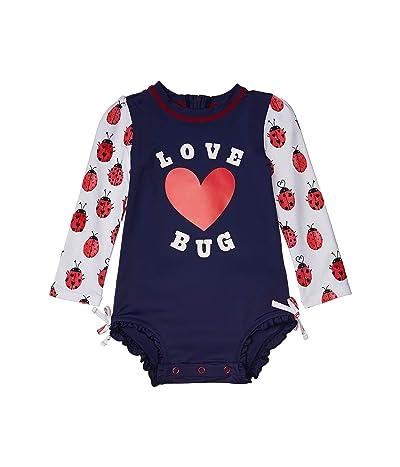 Hatley Kids Love Bugs Rashguard Swimsuit (Infant) (White) Girl