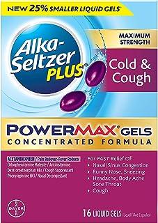 Alka-Seltzer Plus Maximum Strength Powermax Liquid Gels, Cold & Cough, 16 Count