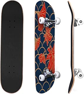 Classic Concave Skateboard Autumn leaves seamless pattern Fall oak leaves and berries nature Canadian Maple Trick Skateboa...