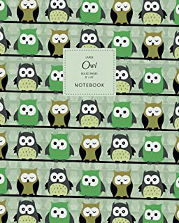 Owl Notebook - Ruled Pages - 8x10 - Large: (Green Edition) Fun Bird of Prey Notebook 192 ruled/lined pages (8x10 inches / ...
