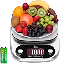 Balance de cuisine numérique - De 1 g à 10 kg - En acier inoxydable - Haute précision - Avec écran LCD et batterie incluse...