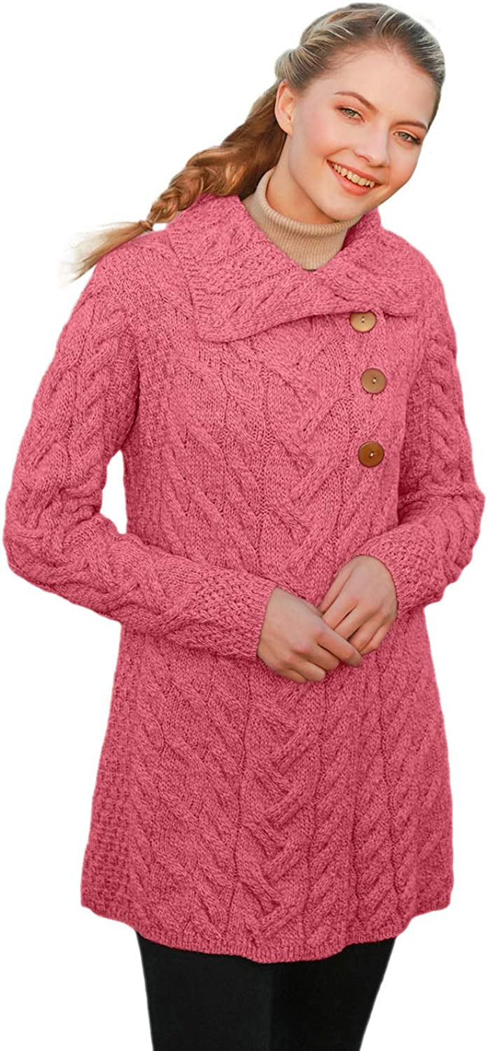 3 Buttoned Supersoft Merino Wool Long Cardigan