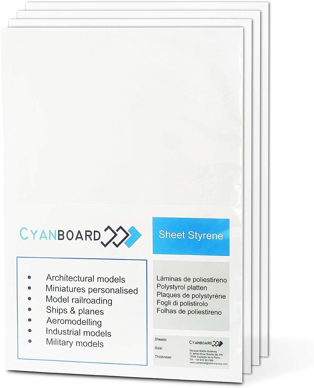 Cyanboard, Placas de Poliestireno Rígido PS: tamaño A4 (297mm x 210 mm). Plasticard para modelismo y maquetas. (1,5mm x 6 Unidades).