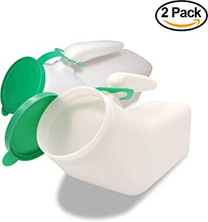 JJ CARE [Spill Proof Urine Bottle for Men] Snap On Lid Plastic Pee Holder, Portable Urinal, Urine Collection for Hospital, Incontinence, Elderly, Travel Bottle and Emergency 1000ml - Green - Pack of 2