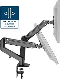 1home Full Motion Gas Spring Dual Twin Arms Desk Mount Stand for 13