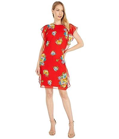 LAUREN Ralph Lauren Floral Ruffled Georgette Shift Dress